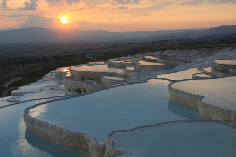 top places to travel, Sunset at the travertine pools, in Pamukkale, Turkey, www.sgturningpoint.com